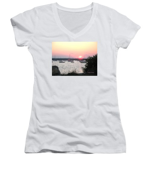 Marion Massachusetts Bay Women's V-Neck T-Shirt (Junior Cut) by Kathy Barney