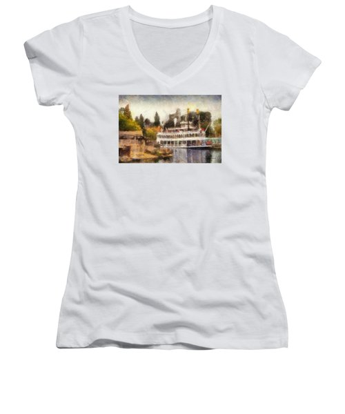 Mark Twain Riverboat Frontierland Disneyland Photo Art 02 Women's V-Neck T-Shirt (Junior Cut) by Thomas Woolworth