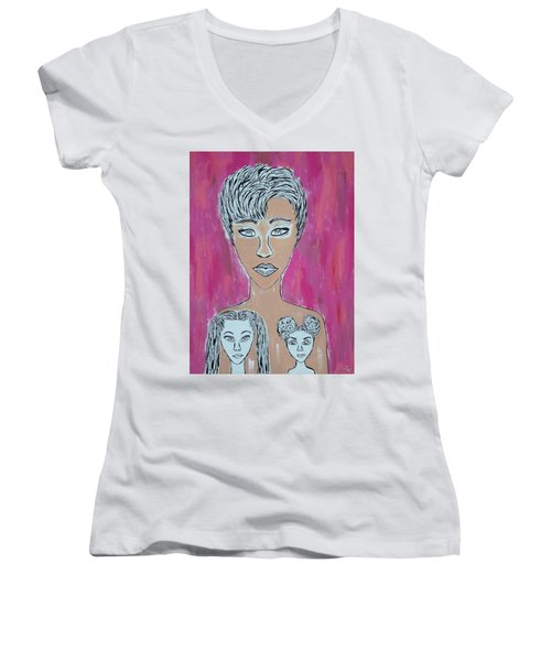 Mother And Daughters Painting And Drawing Women's V-Neck