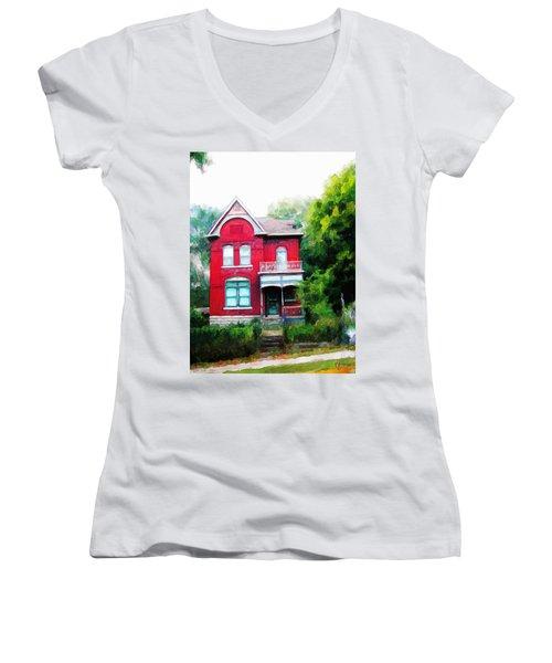Market Street Women's V-Neck T-Shirt (Junior Cut) by Dave Luebbert
