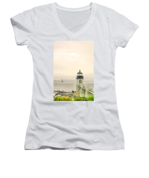 Marshall Point Lighthouse In Maine Women's V-Neck T-Shirt (Junior Cut) by Denyse Duhaime