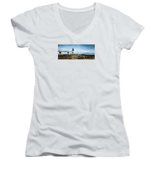 Marshall Point Lighthouse Panoramic Women's V-Neck (Athletic Fit)