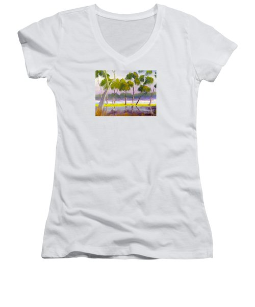 Women's V-Neck T-Shirt (Junior Cut) featuring the painting Marshlands Murray River Red River Gums by Pamela  Meredith