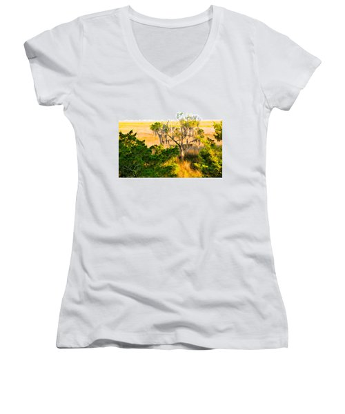 Marsh Cedar Tree And Moss Women's V-Neck T-Shirt