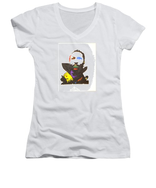 Women's V-Neck T-Shirt (Junior Cut) featuring the painting Marvin Gaye by Stormm Bradshaw