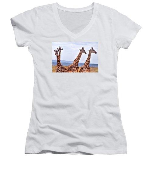 Masai Giraffe Women's V-Neck