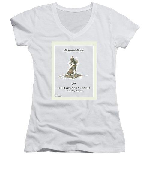 Masquerade Merlot Women's V-Neck T-Shirt