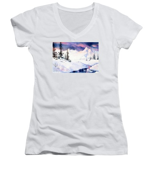 Women's V-Neck T-Shirt (Junior Cut) featuring the painting Matanuska Sunset Impression by Teresa Ascone