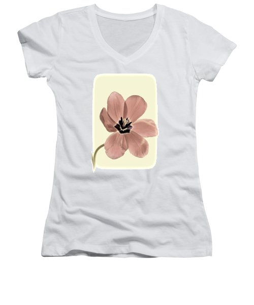 Mauve Tulip Transparency Women's V-Neck (Athletic Fit)
