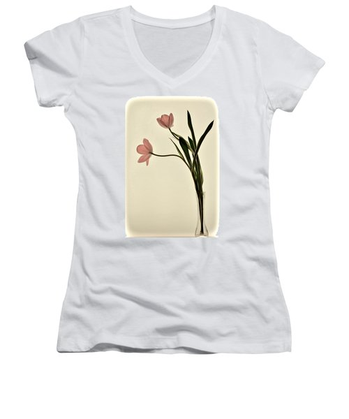 Mauve Tulips In Glass Vase Women's V-Neck (Athletic Fit)