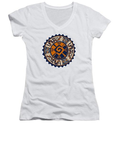 Women's V-Neck T-Shirt (Junior Cut) featuring the digital art Mayan Hunab Ku by Vagabond Folk Art - Virginia Vivier