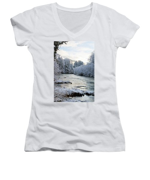Women's V-Neck T-Shirt (Junior Cut) featuring the photograph Mckenzie River by Belinda Greb
