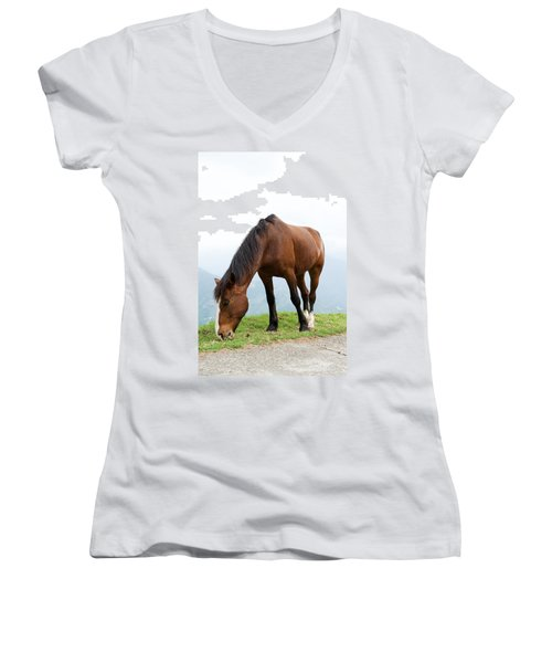 Women's V-Neck T-Shirt (Junior Cut) featuring the photograph Meal Time by Yew Kwang