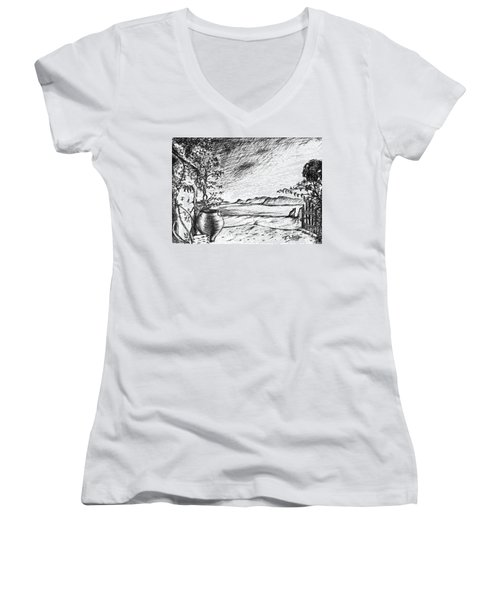 Women's V-Neck T-Shirt (Junior Cut) featuring the drawing Mediterranean Cat by Teresa White