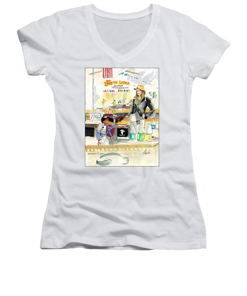Meghan At The Broken Spoke Saloon Women's V-Neck T-Shirt