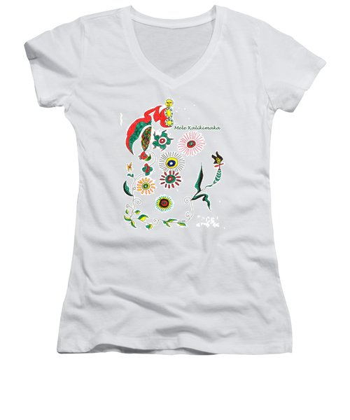 Mele Kalikimaka Women's V-Neck T-Shirt (Junior Cut) by Mukta Gupta