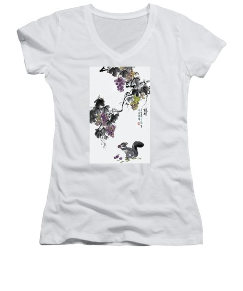 Women's V-Neck T-Shirt (Junior Cut) featuring the painting Melody Of Life II by Yufeng Wang