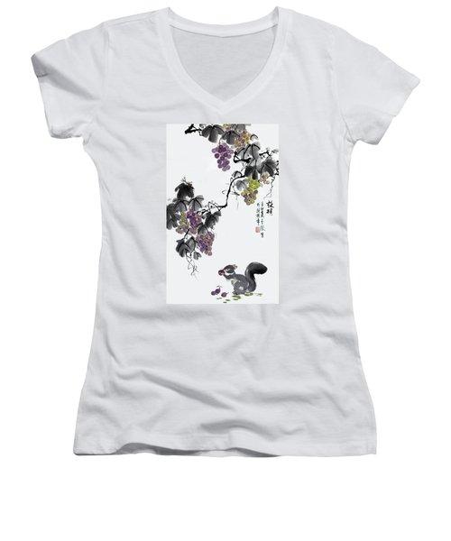 Melody Of Life II Women's V-Neck T-Shirt (Junior Cut) by Yufeng Wang