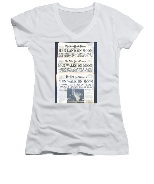 Men Walk On The Moon Women's V-Neck T-Shirt (Junior Cut) by Kenneth Cole