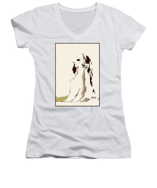 Mercedes  - Our Cavalier King Charles Spaniel  No. 9 Women's V-Neck T-Shirt