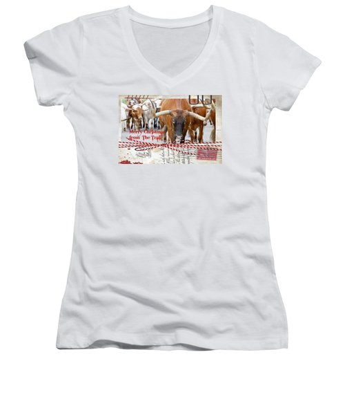 Merry Christmas From The Trail Women's V-Neck (Athletic Fit)