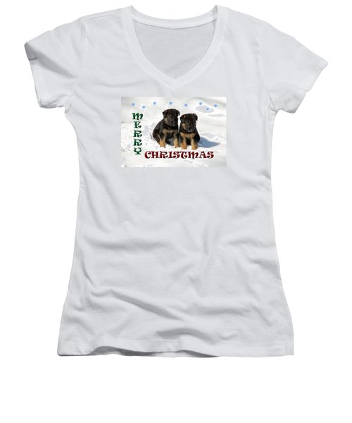 Merry Christmas Puppies Women's V-Neck T-Shirt