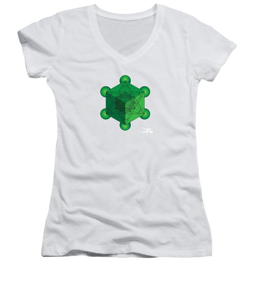 Metatron's Cube In Green Women's V-Neck (Athletic Fit)