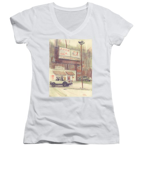 Women's V-Neck T-Shirt (Junior Cut) featuring the painting Mexican Take Out by Donald Maier