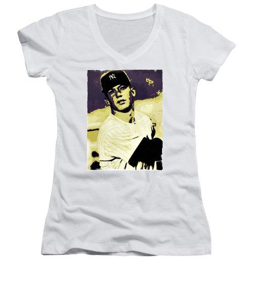 Mickey Mantle Poster Art Women's V-Neck T-Shirt