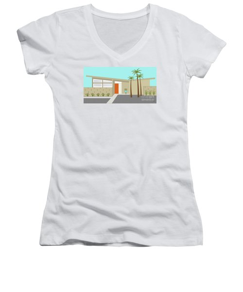 Mid Century Modern House 1 Women's V-Neck T-Shirt