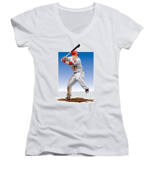 Women's V-Neck T-Shirt (Junior Cut) featuring the digital art Mike Trout by Scott Weigner