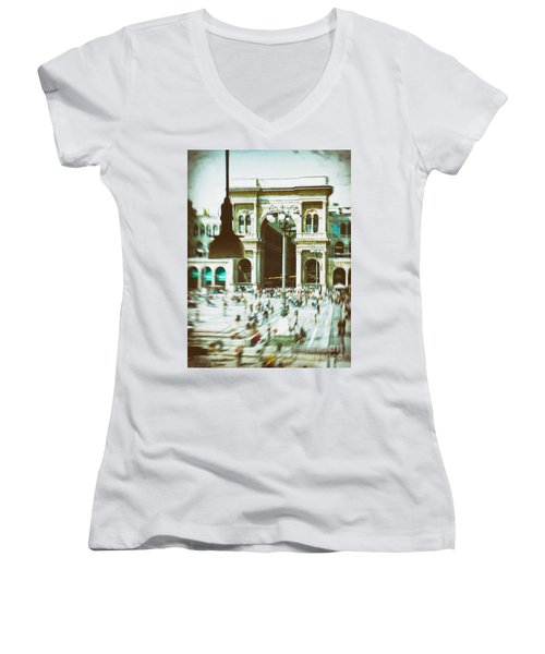 Women's V-Neck T-Shirt (Junior Cut) featuring the photograph Milan Gallery by Silvia Ganora