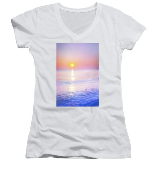 Women's V-Neck T-Shirt (Junior Cut) featuring the photograph Milky Sunset by Lilia D