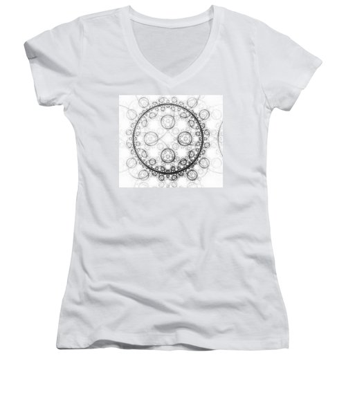 Minimalist Fractal Art Black And White Circles Women's V-Neck