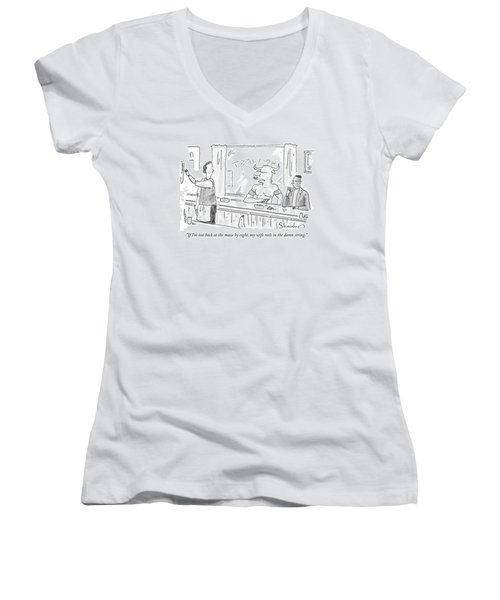 Minotaur At Bar Talking To Bartender Reaching Women's V-Neck T-Shirt (Junior Cut) by Danny Shanahan