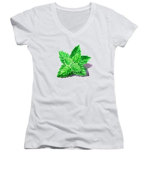 Mint Leaves Women's V-Neck T-Shirt (Junior Cut) by Irina Sztukowski