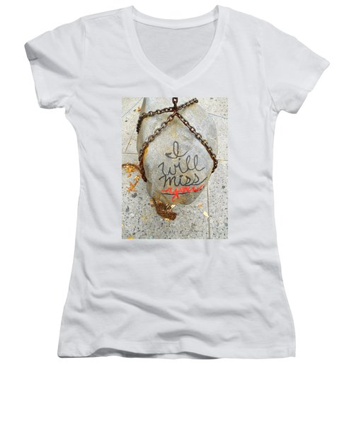 Missing You Women's V-Neck T-Shirt (Junior Cut) by Joan Reese