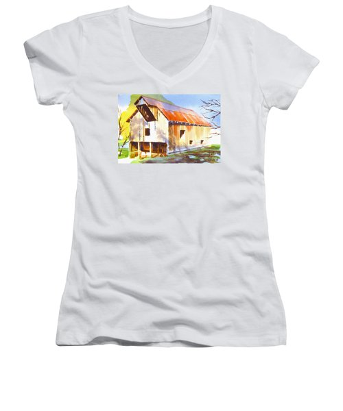 Missouri Barn In Watercolor Women's V-Neck (Athletic Fit)
