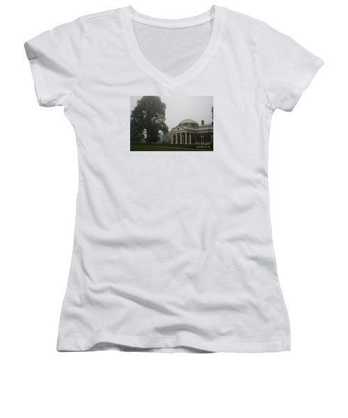 Misty Morning At Monticello Women's V-Neck T-Shirt (Junior Cut) by Christiane Schulze Art And Photography