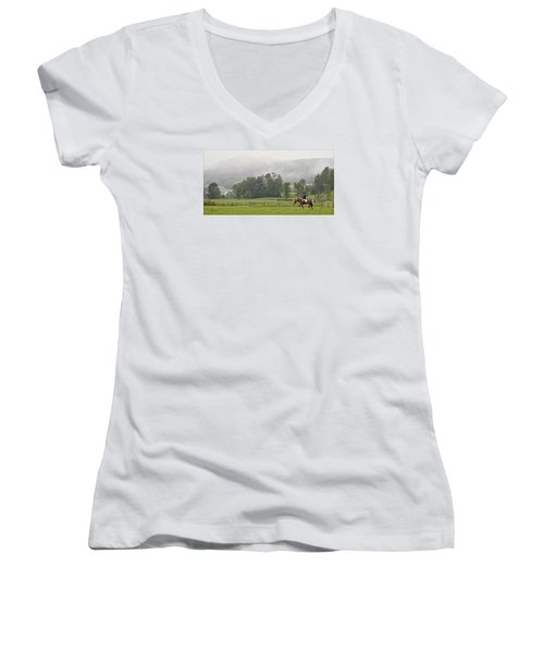 Misty Morning Ride Women's V-Neck T-Shirt (Junior Cut) by Joan Davis
