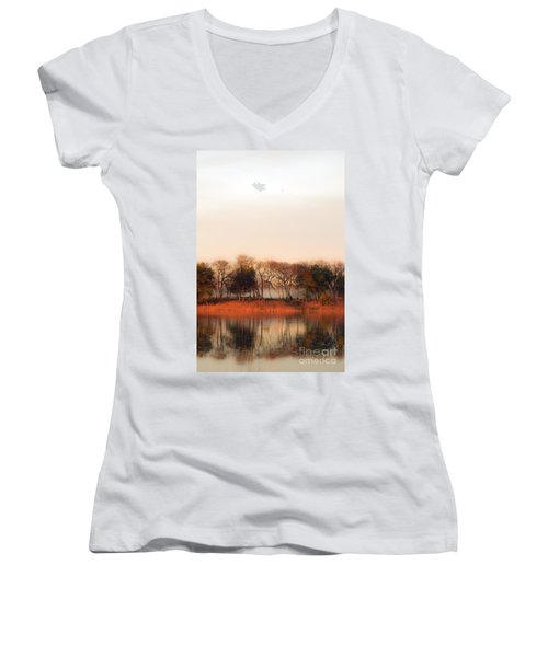 Misty Winter's Morning Women's V-Neck T-Shirt (Junior Cut) by Angela DeFrias