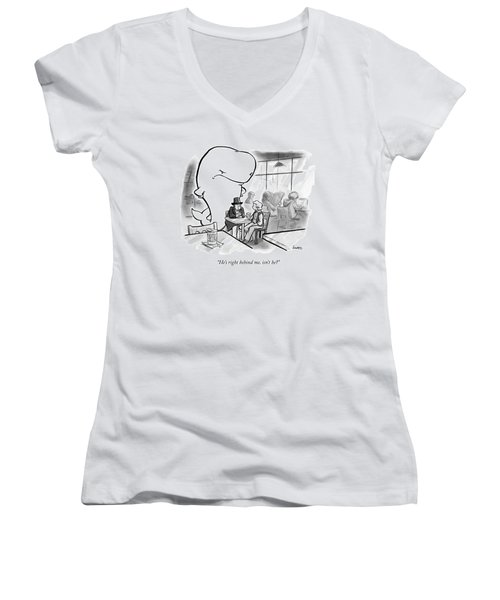 Moby Dick Stands Behind Captain Ahab Women's V-Neck