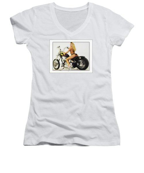 Models And Motorcycles_k Women's V-Neck (Athletic Fit)