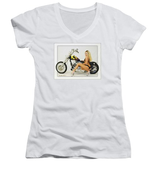 Models And Motorcycles_l Women's V-Neck (Athletic Fit)