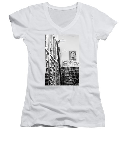 Modica Market - Black And White Women's V-Neck T-Shirt (Junior Cut) by Shelby  Young