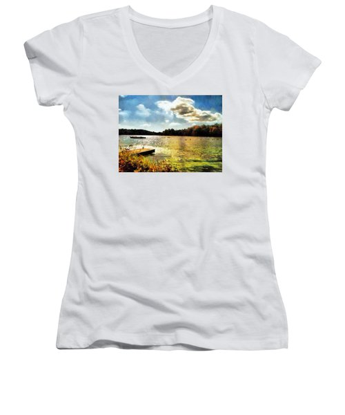 Mohegan Lake Gold Women's V-Neck T-Shirt (Junior Cut) by Derek Gedney