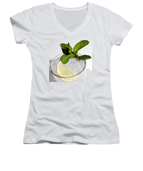 Mojito Detail Women's V-Neck T-Shirt (Junior Cut) by Gina Dsgn