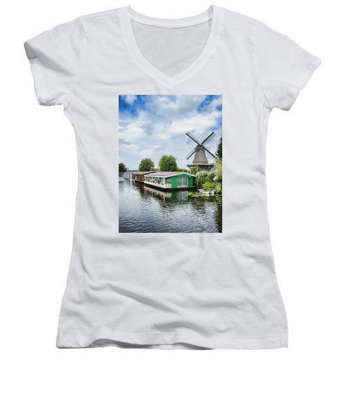 Molen Van Sloten And River Women's V-Neck T-Shirt