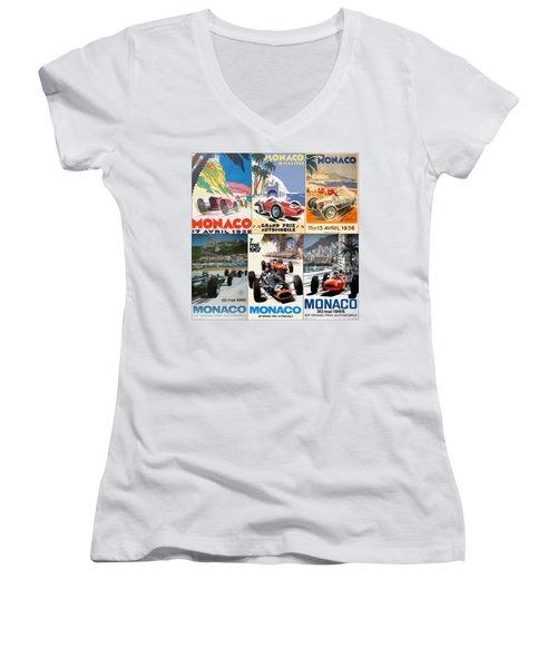 Monaco F1 Grand Prix Vintage Poster Collage Women's V-Neck