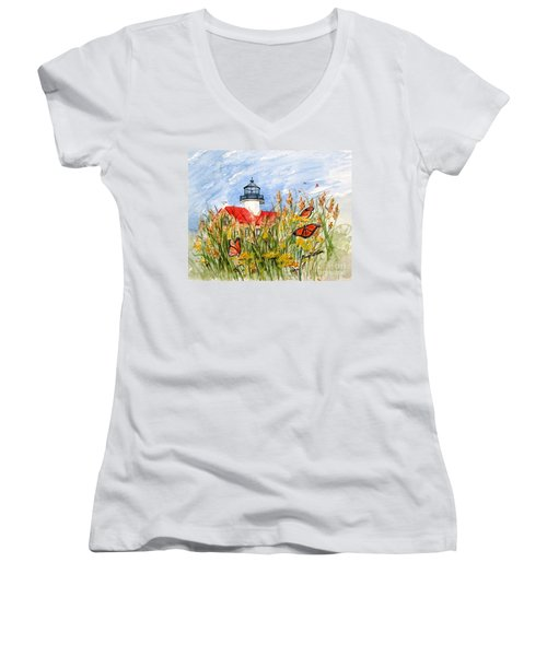 Monarch Butterflies At East Point Light Women's V-Neck (Athletic Fit)